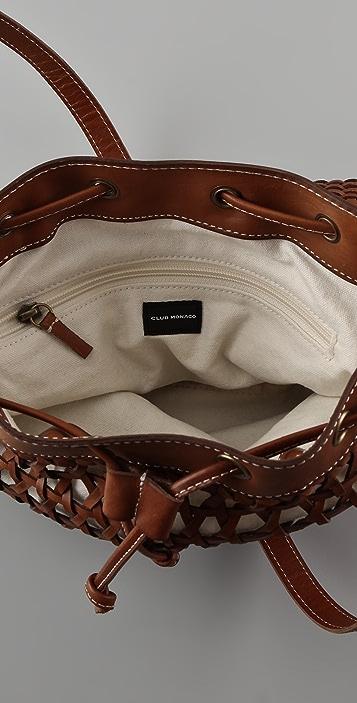 Club Monaco Basket Weave Drawstring Bag