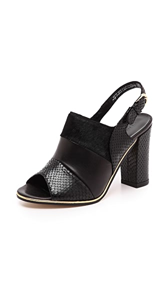 Club Monaco Ava Slingback Sandals with Haircalf Trim
