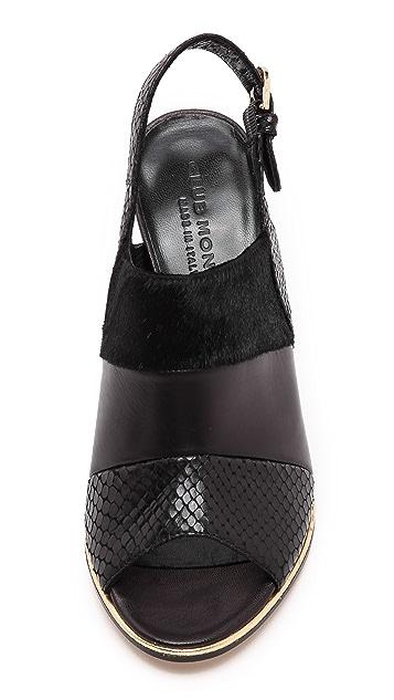 Club Monaco Ava Slingback Sandals with Haircalf Trim