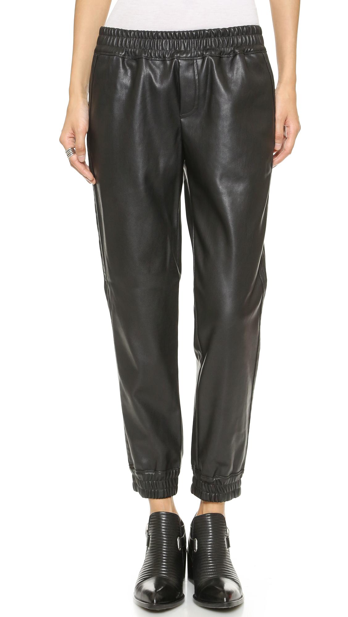 Black Faux Leather Bebe Elastic Waist Joggers Size L Harmonious Colors Clothing, Shoes & Accessories