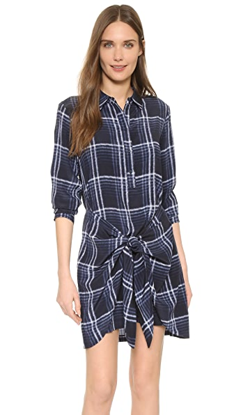 Club Monaco Ladore Tie Front Dress In Tonal Plaid