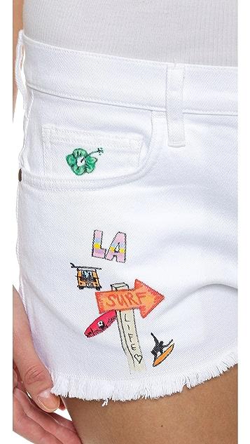 Mira Mikati Hand Painted White Denim Shorts