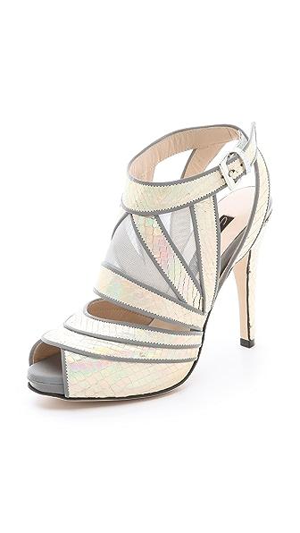 Chrissie Morris Sunburst Reflective Python Sandals