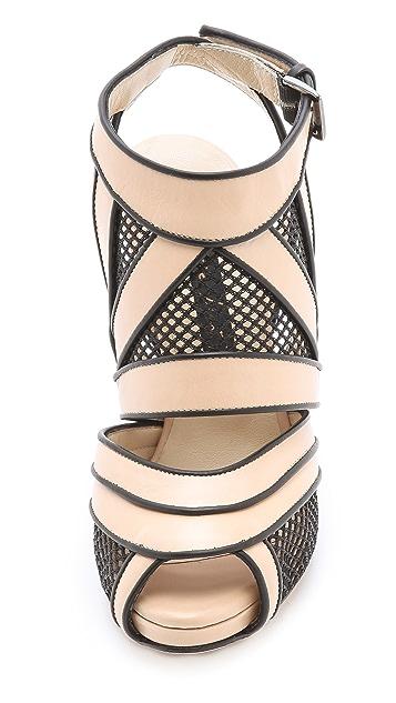 Chrissie Morris Sunburst Black Net Heels