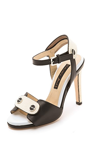 Chrissie Morris Black and Ivory Sandals