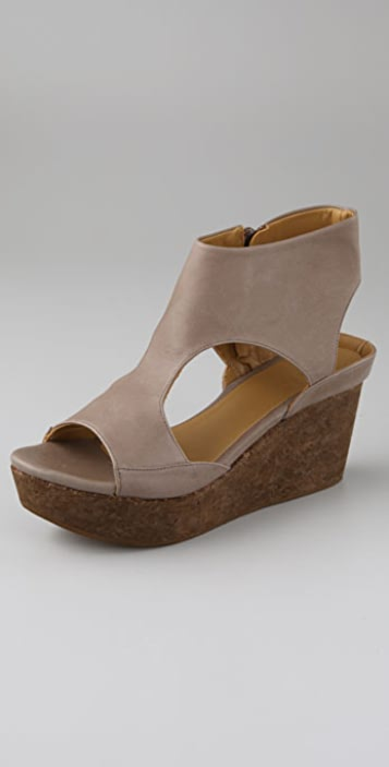 Coclico Shoes Mosaic Open Toe Booties with T Strap