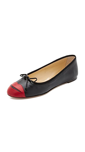 Charlotte Olympia Kiss Me Darcy Flats - Black/Red