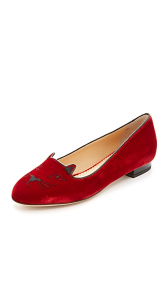 Charlotte Olympia Kitty Flats - Red/Black