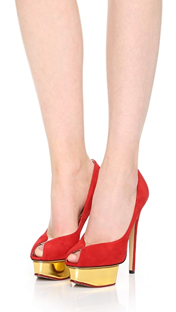 Charlotte Olympia Suede Daphne Pumps