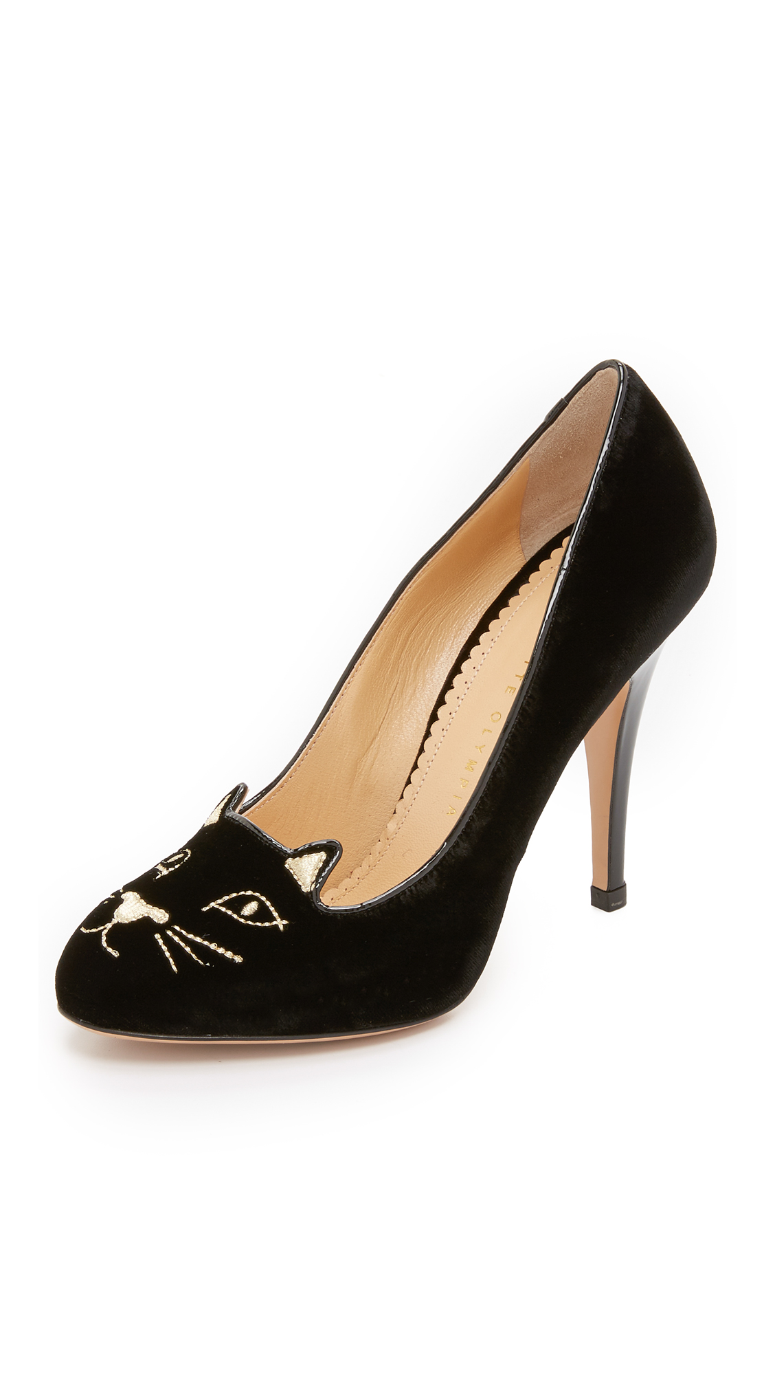 Charlotte Olympia Velvet Kitty Pumps - Black