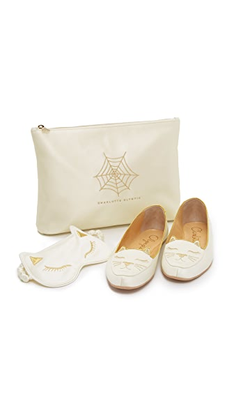 Charlotte Olympia Cat Nap Slipper Set - White