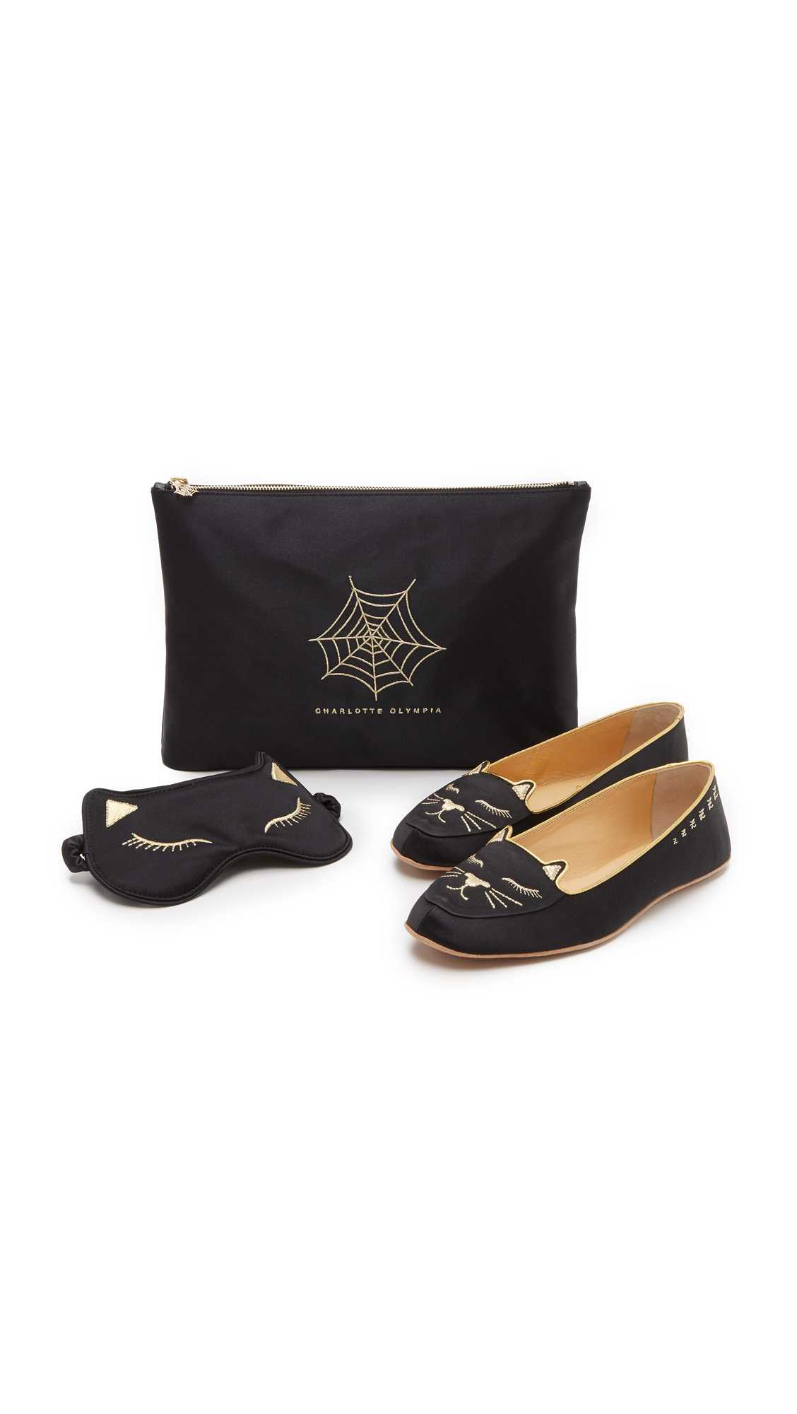 Charlotte Olympia Cat Nap Slipper Set - Black