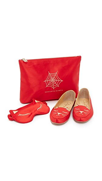 Charlotte Olympia Cat Nap Slipper Set - Red