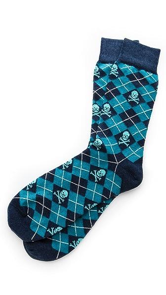 Corgi Argyle Skull Print Socks