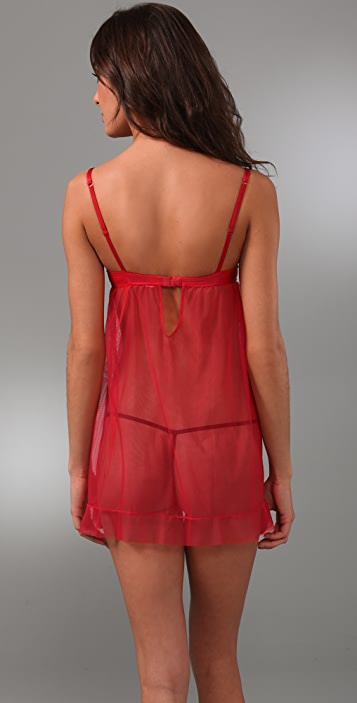 Cosabella Satin & Lace Baby Doll Chemise with G-String