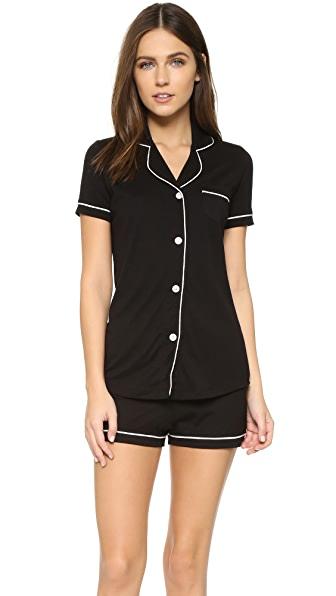 Cosabella Bella Short Sleeve Boxer PJ Set In Black