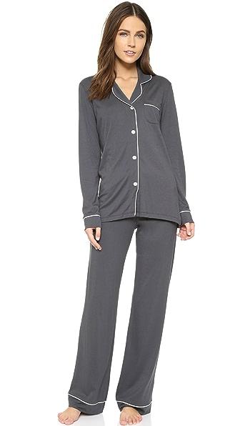Cosabella Bella Long Sleeve Top & Pant PJ Set - Anthracite