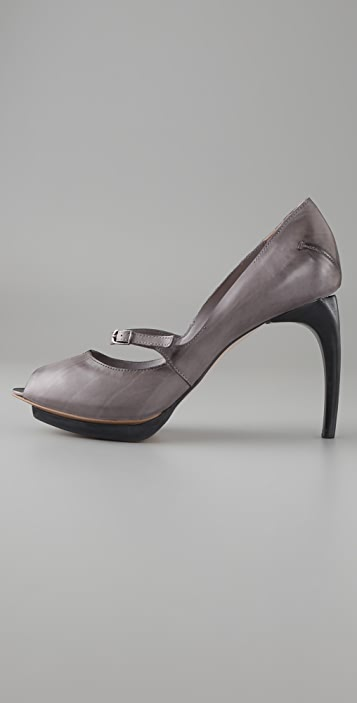 CoSTUME NATIONAL Open Toe Mary Jane Pumps