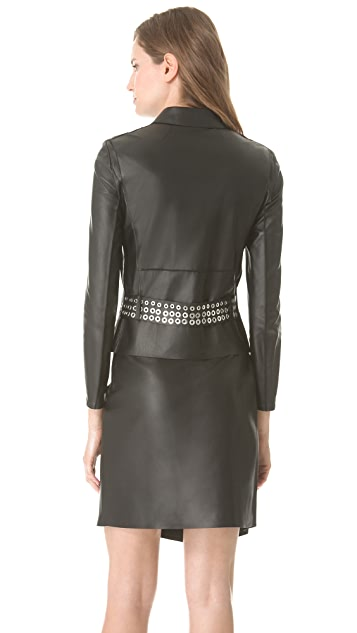 CoSTUME NATIONAL Leather Jacket with Belt Detail