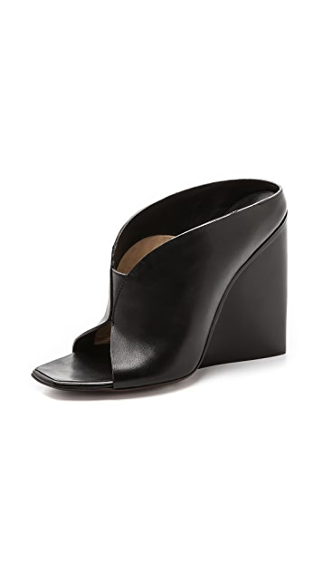 CoSTUME NATIONAL Leather Wedge Sandals