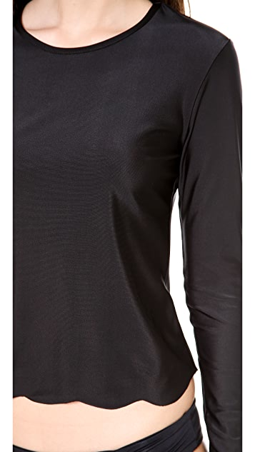 Cover Scalloped Long Sleeve Rash Guard