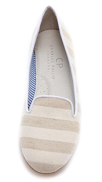 Charles Philip Tropez Cotton Stripe Flats