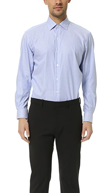 Culturata Point Collar Striped Oxford Shirt