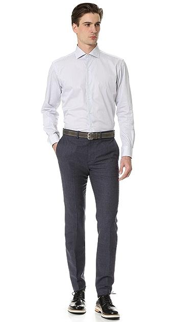 Culturata Spread Collar Fine Striped Shirt