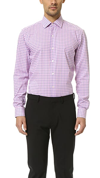 Culturata Point Collar Small Plaid Shirt