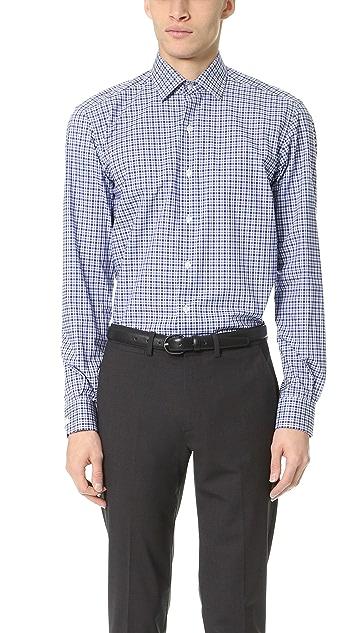 Culturata Point Collar Small Plaid Shirt