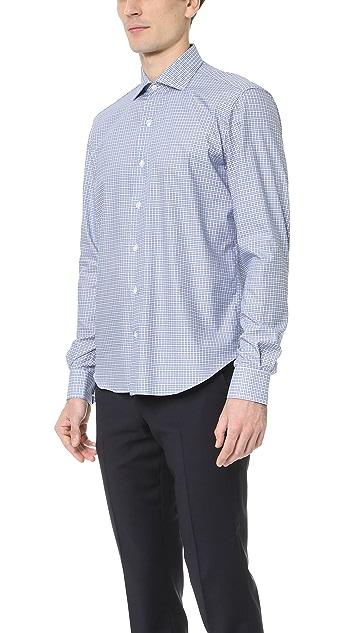 Culturata Spread Collar Mini Check Shirt
