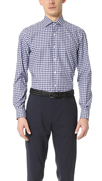 Culturata Spread Collar Mini Plaid Shirt