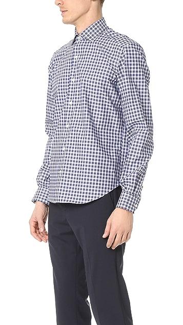 Culturata Spread Collar Mini Plaid Shirt