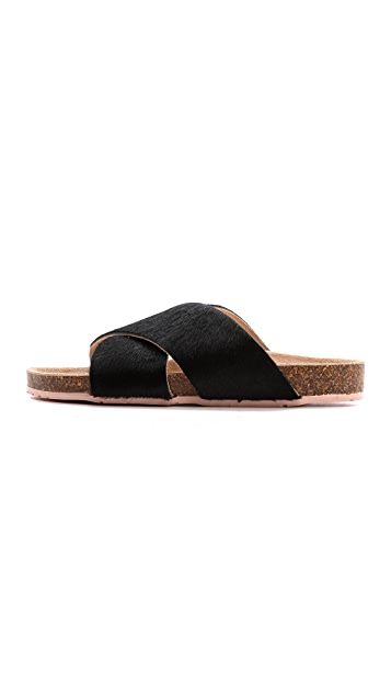 Charlotte Stone Luke Haircalf Cross Strap Sandals