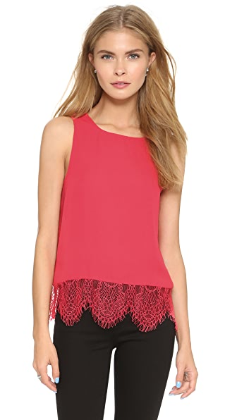 Cupcakes And Cashmere Sierra Tank With Lace Trim - Poppy