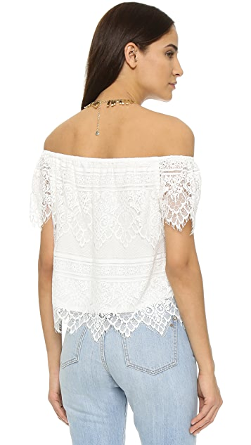 cupcakes and cashmere Sunset Lace Off Shoulder Top