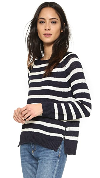 Cupcakes And Cashmere Elba Striped Sweater With Zipper Detail - Ink