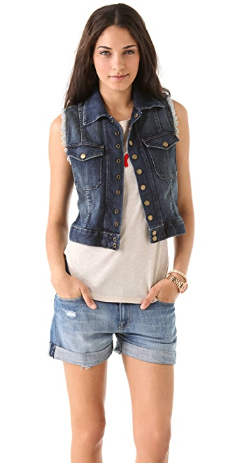 Current/Elliott The Sleeveless Snap Jacket