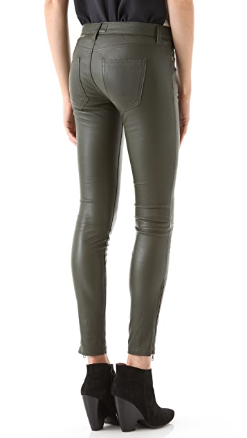 Current/Elliott The Zip Skinny Leather Pants