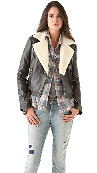 Current/Elliott The Shearling Biker Jacket