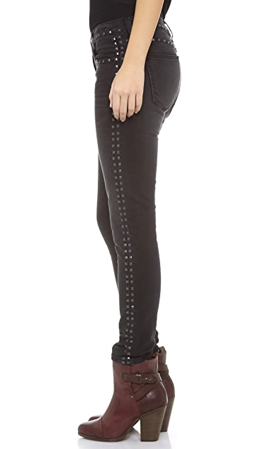 Current/Elliott The Studded Crop Skinny Jeans