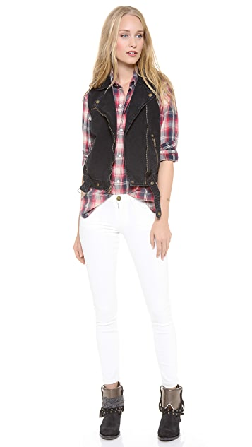 Current/Elliott The Sleeveless Moto Vest