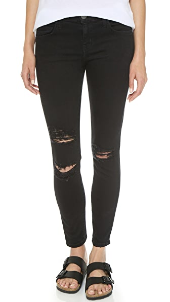 Current/Elliott The Stiletto Jeans - Jet Black Destroy
