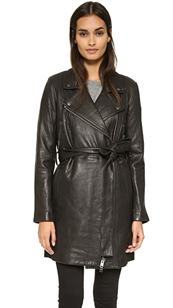 Current/Elliott The Long Moto Leather Trench
