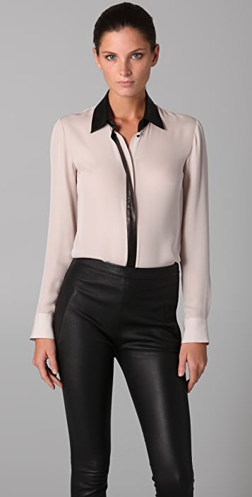 Cushnie Et Ochs Georgette Blouse with Black Leather