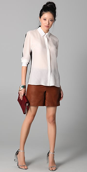 Cushnie Et Ochs Button-up Blouse with Sheer Back
