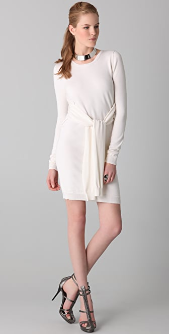 Cushnie et Ochs Cashmere Sweater Dress with Waist Ties