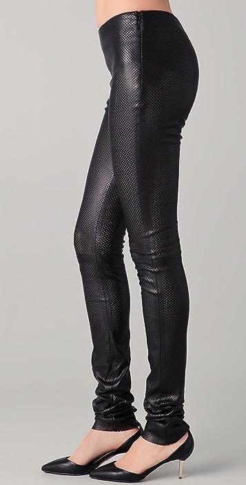 Cushnie Et Ochs Perforated Leather Leggings
