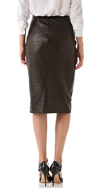 Cushnie Et Ochs Croc Leather Skirt