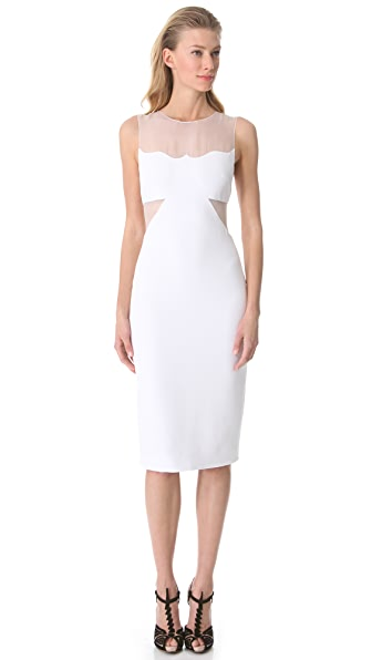 Cushnie et Ochs Sleeveless Dress with Organza Cutouts